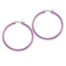 Chisel Stainless Steel Pink 42mm Hoop Earrings