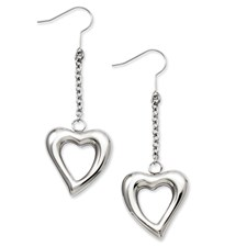 Chisel Stainless Steel Polished Cut Out Heart Dangle Earrings