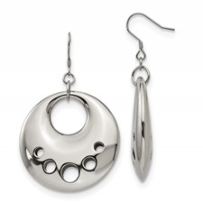 Chisel Stainless Steel Polished Circle Cut Out Dangle Earrings