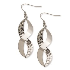 Chisel Stainless Steel Polished and Textured Twist Dangle Earrings