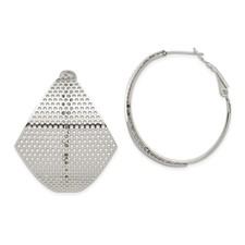 Chisel Stainless Steel Fancy Cut Out Hoop Earrings