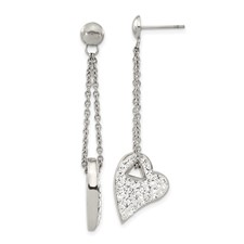 Chisel Stainless Steel Clear Crystal Heart Post Dangle Earrings