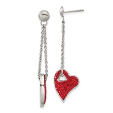 Chisel Stainless Steel Red Crystal Heart Post Dangle Earrings