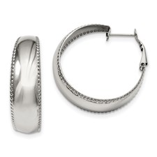 Chisel Stainless Steel Textured Edge Hoop Earrings