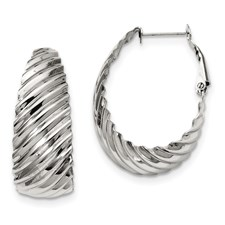 Chisel Stainless Steel 35mm Textured Oval Hoop Earrings