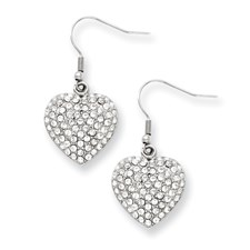 Chisel Stainless Steel CZ Heart Dangle Earrings