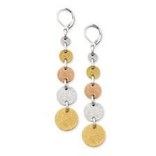 Chisel Stainless Steel Tri-Color Plated Discs Leverback Earrings