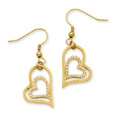 Chisel Stainless Steel Gold-plated Diamond Cut Heart Dangle Earrings
