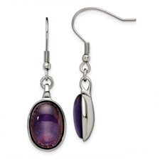 Chisel Stainless Steel Synthetic Amethyst Earrings