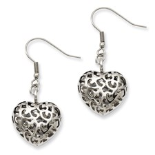 Chisel Stainless Steel Puffed Heart Dangle Earrings
