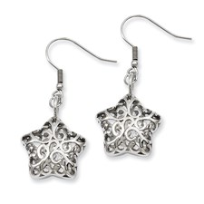 Chisel Stainless Steel Small Puffed Star Dangle Earrings