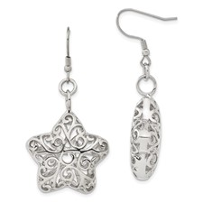Chisel Stainless Steel Puffed Star Dangle Earrings
