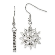 Chisel Stainless Steel Polished Snowflake Dangle Earrings