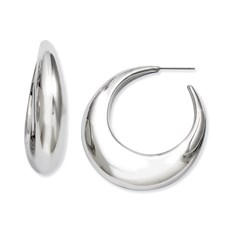 Chisel Stainless Steel Large Polished Hollow Half Hoop Post Earrings
