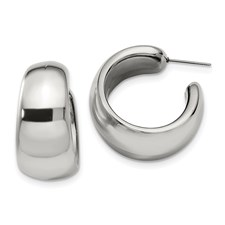 Chisel Stainless Steel Polished Hollow Half Hoop Earrings