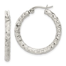 Chisel Stainless Steel Polished and Textured Hoop Earrings