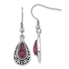 Chisel Stainless Steel Antiqued and Purple Cats Eye Teardrop Dangle Earrings