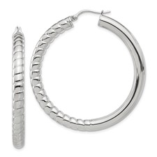 Chisel Stainless Steel Half Textured and Polished Hollow Hoop Earrings