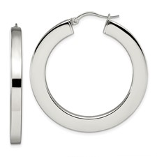 Chisel Stainless Steel Polished Hollow 30mm Flat Hoop Earrings