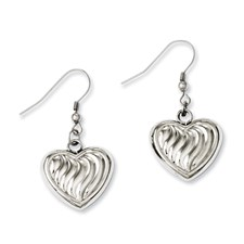 Chisel Stainless Steel Polished with Swirl Design Puff Hearts Dangle Earrings