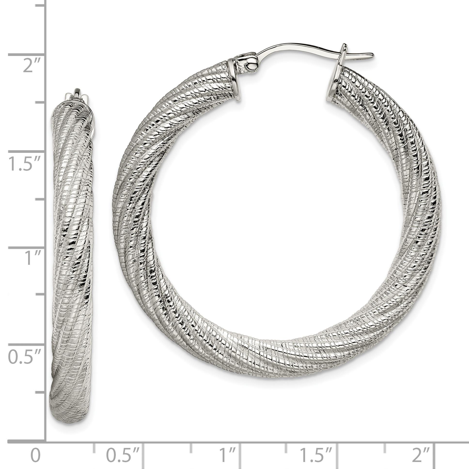 Stainless Steel Textured Hollow Hoop Earrings