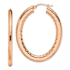 Chisel Stainless Steel Rose IP-plated Textured Hollow Oval Hoop Earrings