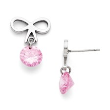 Chisel Stainless Steel Bow with Pink Zircon Polished Post Earrings
