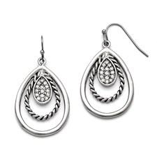 Stainless Steel Polished/Antiqued CZ Shepherd Hook Earrings