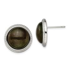 Stainless Steel Polished Labradorite Post Earrings