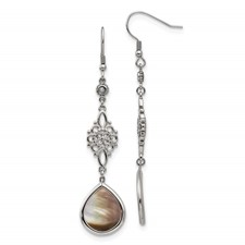 Stainless Steel Polished Black Mother of Pearl/CZ Dangle Earrings