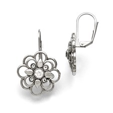 Stainless Steel Polished CZ Flower Leverback Earrings