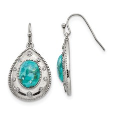 Stainless Steel Polished Imitation Turquoise and CZ Shepherd Hook Earrings