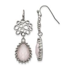 Stainless Steel Polished Rose Quartz Shepherd Hook Earrings