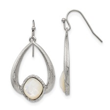 Stainless Steel Polished/Textured Mother of Pearl Earrings