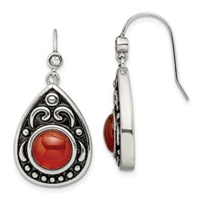 Stainless Steel Polished/Antiqued Red Agate/CZ Dangle Earrings