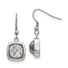 Stainless Steel Polished Square Glass Shepherd Hook Earrings