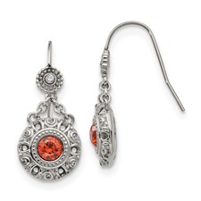 Stainless Steel Polished Red and Clear CZ Circle Earrings