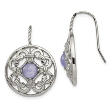 Stainless Steel Polished Synthetic Purple Calcedony Earrings