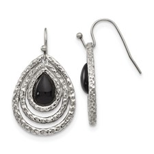 Stainless Steel Polished Black Onyx Shepherd Hook Earrings