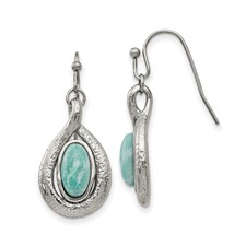 Stainless Steel Polished and Textured Dyed Synthetic Green Jade Earrings