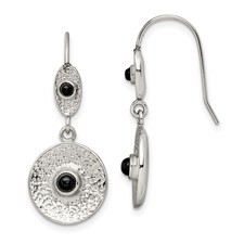 Stainless Steel Polished and Textured Black Onyx Circle Earrings