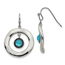 Stainless Steel Polished Wavy Circle Blue Glass Earrings