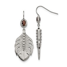 Stainless Steel Polished Smoky Quartz Feather Earrings