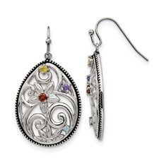 Stainless Steel Polished/Antiqued Multicolor CZ Earrings