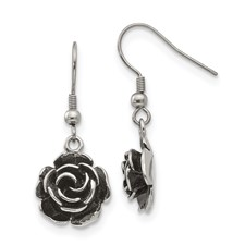 Stainless Steel Polished Antiqued Shepherd Hook Flower Earrings