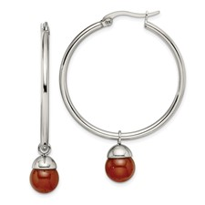 Stainless Steel Polished Hoop w/Red Agate Bead Earrings