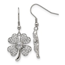 Stainless Steel Polished 4-Leaf Clover w/CZ  Shepherd Hook Earrings