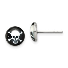 Stainless Steel Polished Skull Epoxy Post Earrings