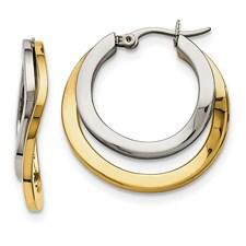 Stainless Steel Polished Yellow IP-plated 30mm Hoop Earrings