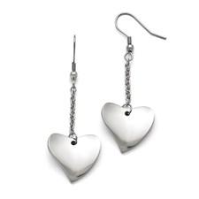 Stainless Steel Polished Heart Earrings